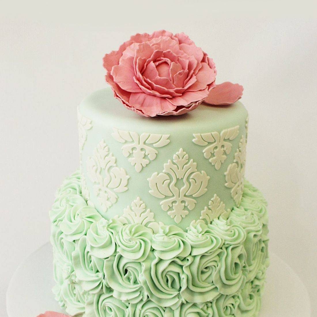 Custom Mint Green Pink Flower Cake  Milwaukee