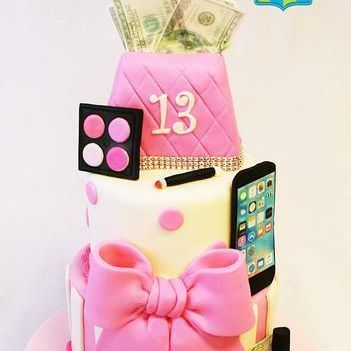 Custom Sweet 13 Makeup iphone Cake Milwaukee