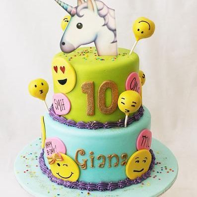 Custom Unicorn Emoji faces Cake Milwaukee