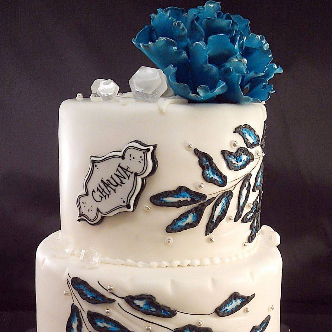 Custom Blue Floral Cake Milwaukee