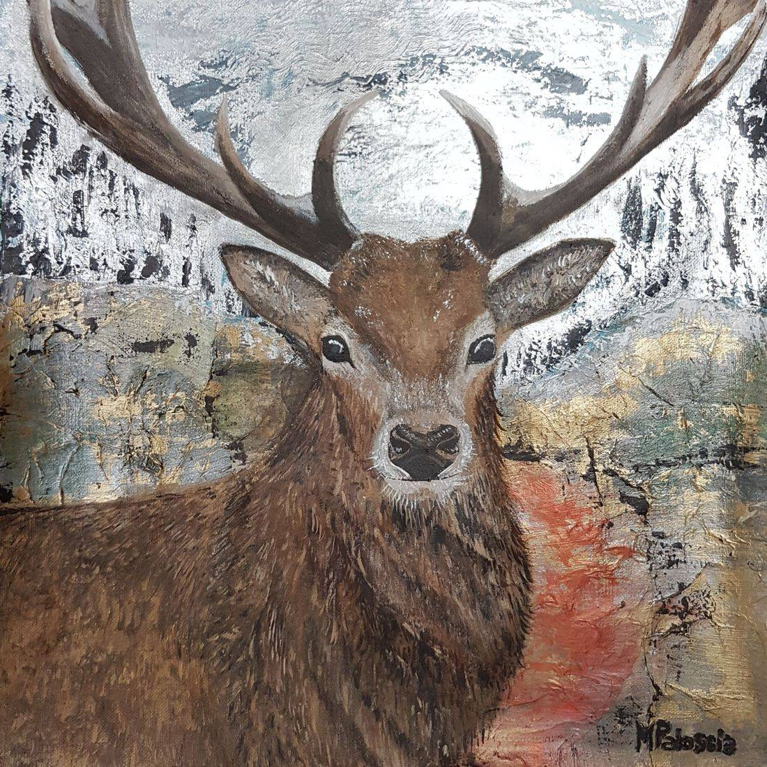 Deer acrylic painting abstract background