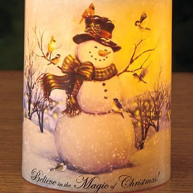 Snowman Holiday LED Candle