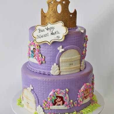 Custom Purple Princess Castle Crown Cake Milwaukee