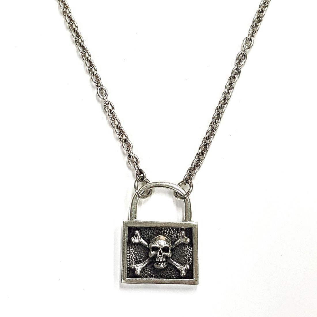 Solid Silver Skull & Cross Bones padlock Chain  available at Kazbah online and our Leicester City Centre Shop