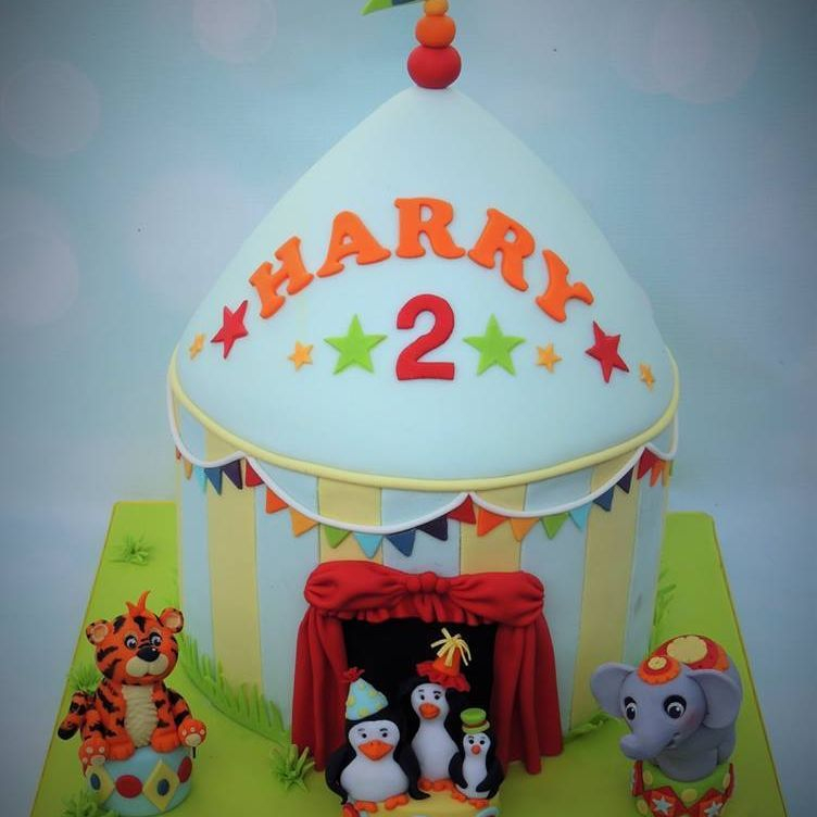 Circus Cake Tiger Penguin Elephant Bunting