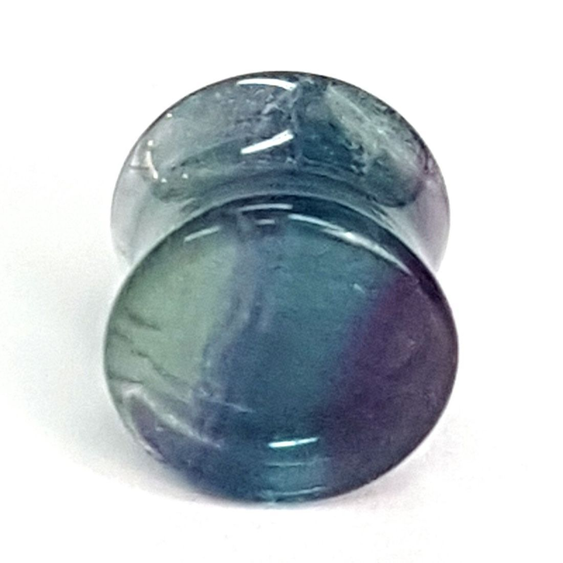Green and purple Fluorite ear plug  available at Kazbah online or our Leicester City Centre store