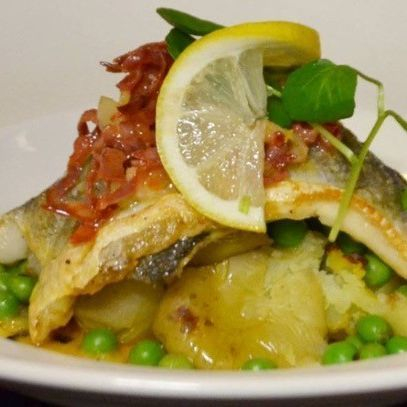 Sea bass fillet with a chorizo, shrimp & lemon butter
