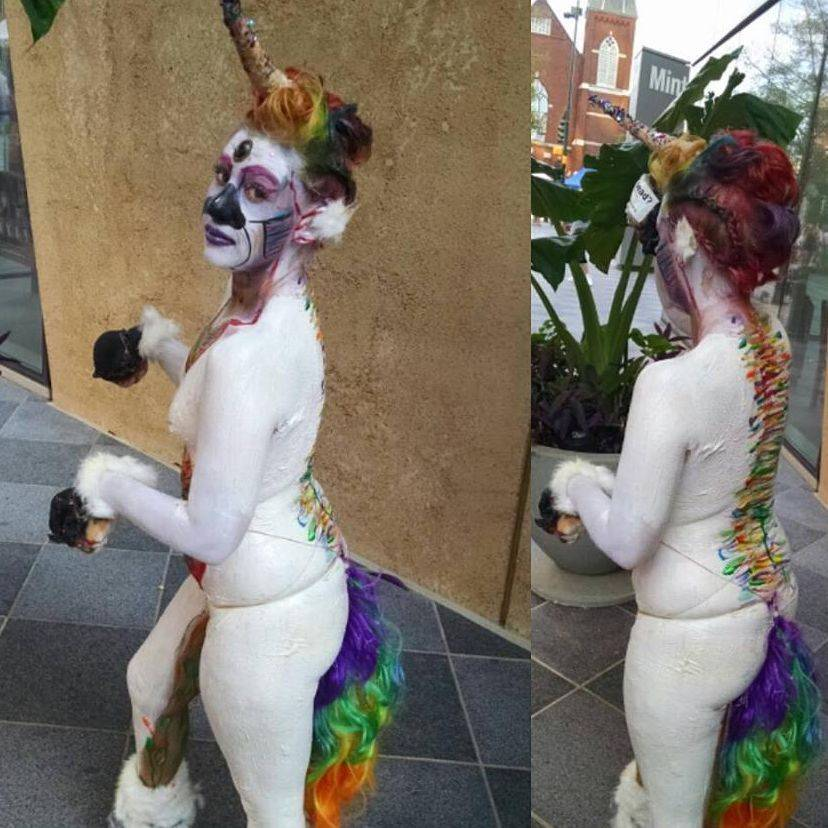 Rainbow unicorn bodypaint pride bodyart nude art