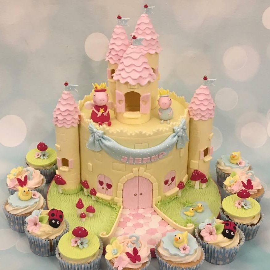 Peppa Pig George Castle Cake Duck Toadstool butterfly Ladybug Yellow