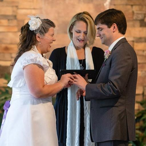wedding, interfaith, laughter, rings, minister, officiant, venue, monroe, nc
