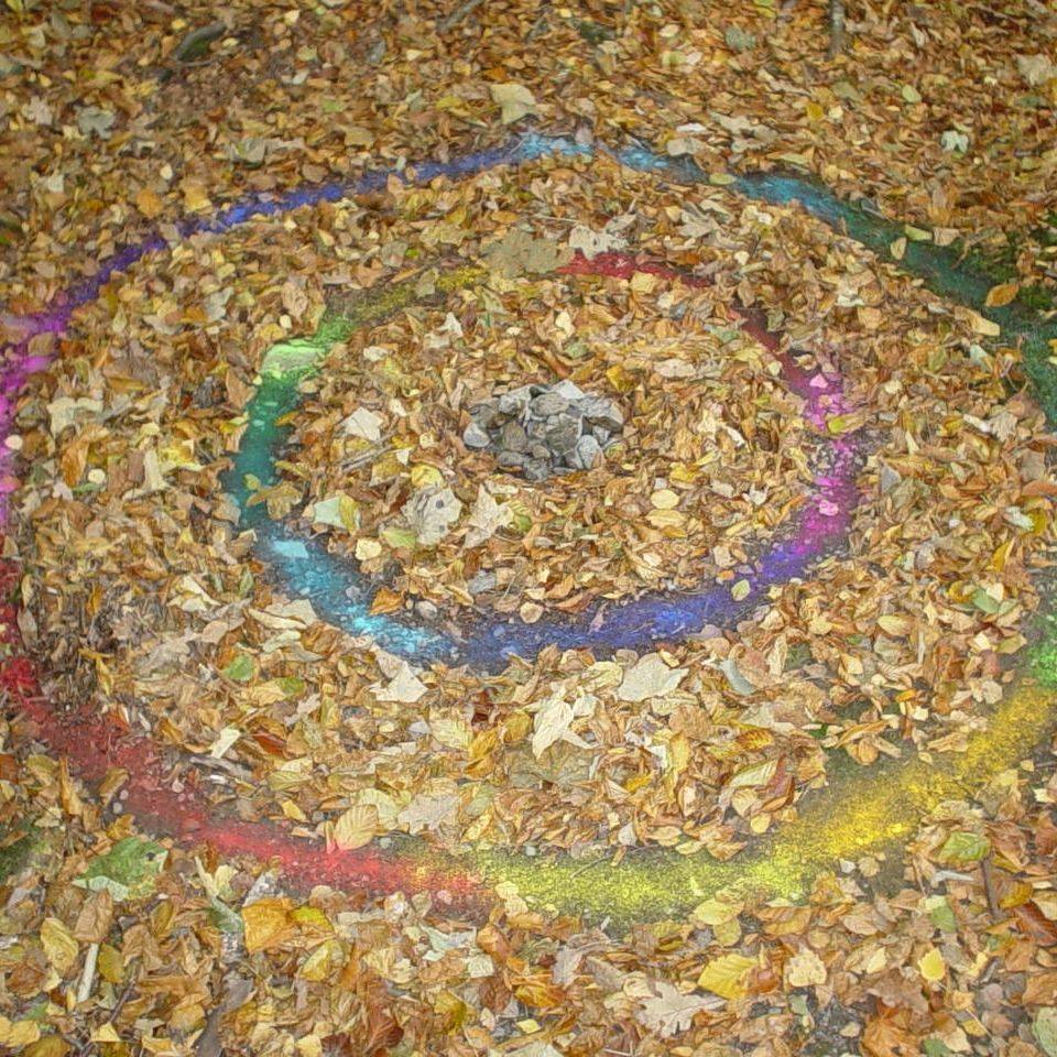 Earthmoves nature Autumn leaves circles rainbow flag energy ripple