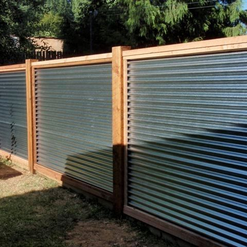 corrugated aluminum framed fence