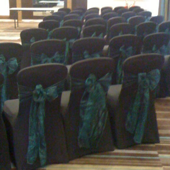 Black wedding chair cover hire Norton House, Edinburgh