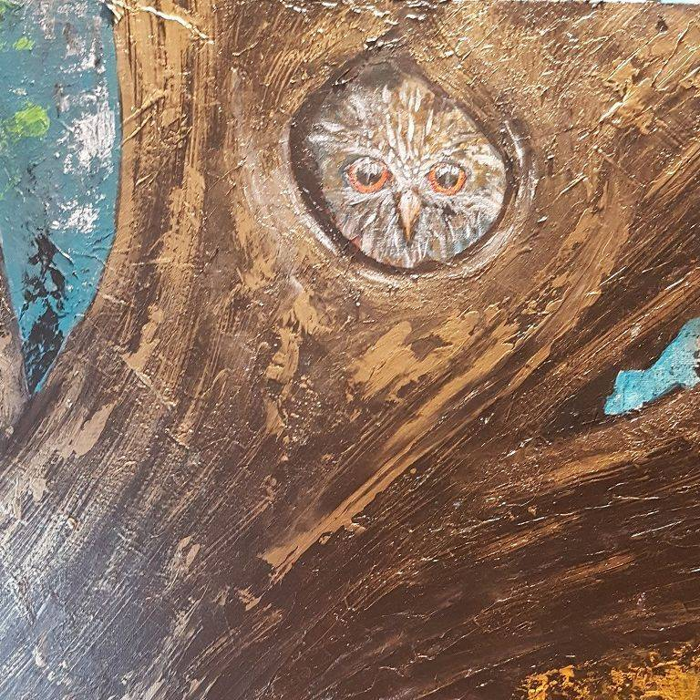 A glance at reality owl painting
