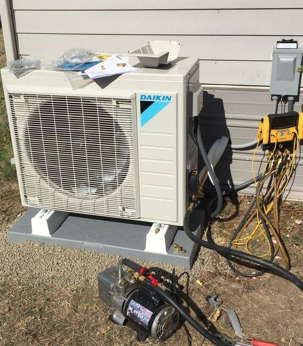 Ductless Daiken Heat pump installation repair replacement outdoor unit