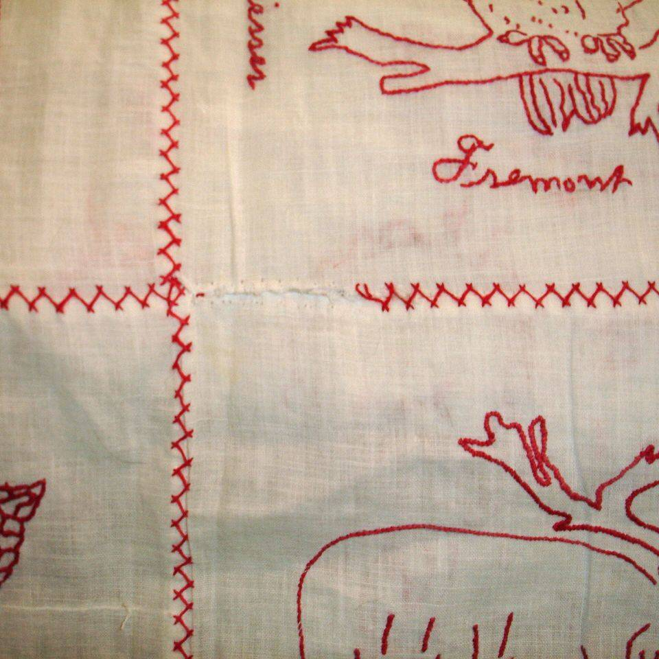 Redwork Quilt before repair