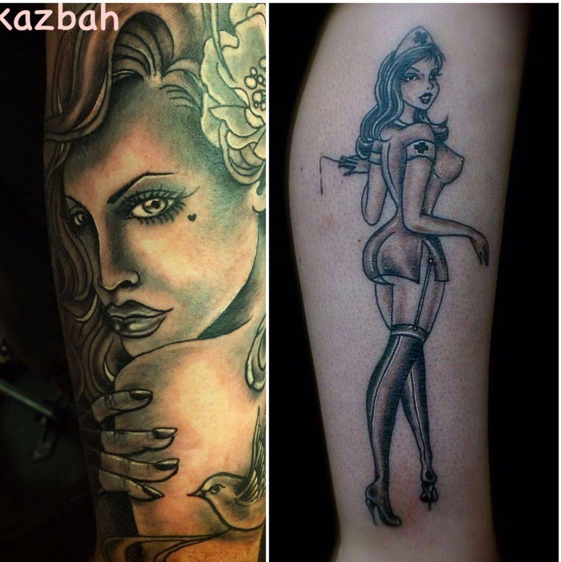 Pin up girl tattoo by mcgoldtooth at kazbah tattoo studio Leicester