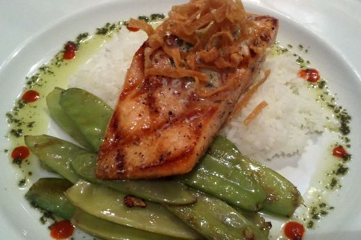 Grilled Salmon w/ Sweet Peas