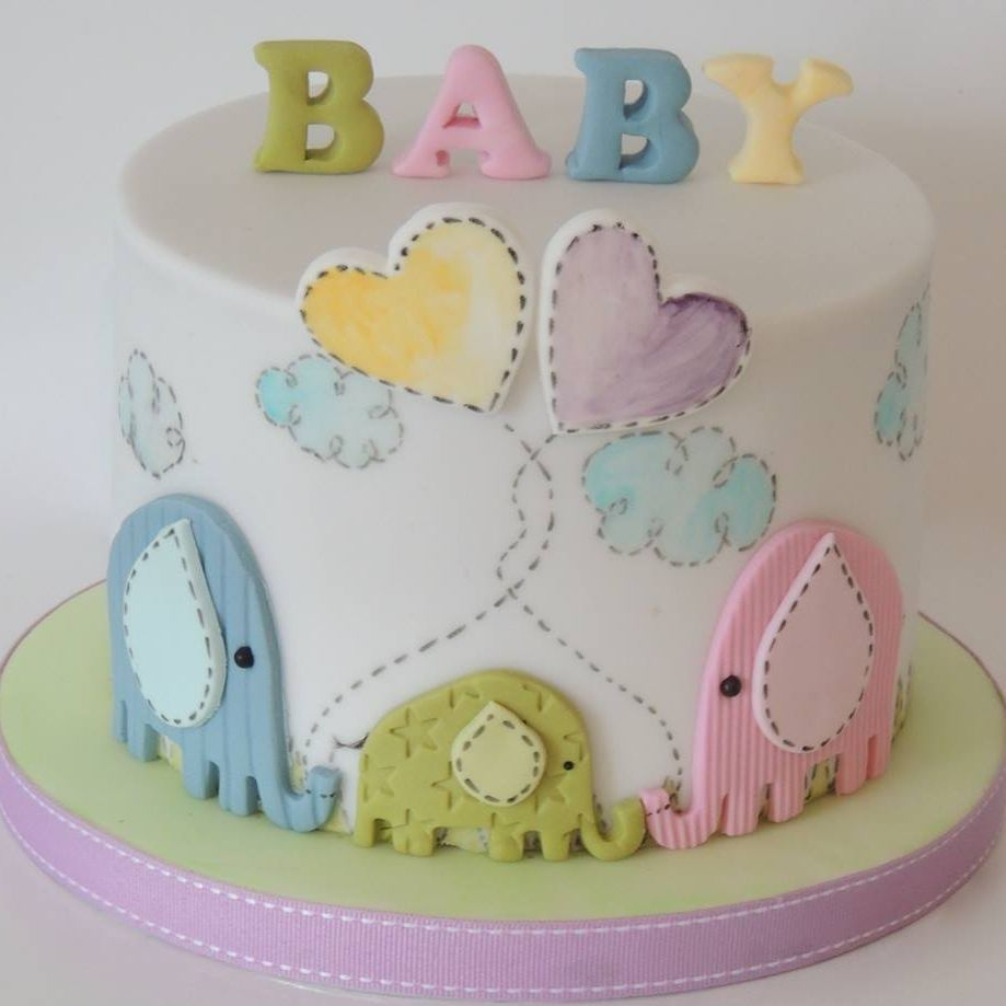 Baby Elephant Shower Cake Celebration Novelty Family Hand Paint
