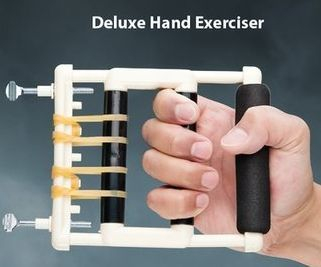 Deluxe Hand Exerciser builds hand strength. Has padded base for added comfort. Add or remove rubber bands to adjust resistance.