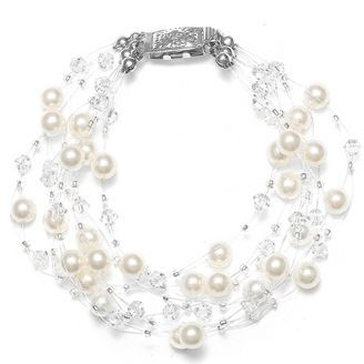Sarah's Special 8-Row Floating Pearl, Crystal and Rhinestone Fireball Illusion Bridal Bracelet