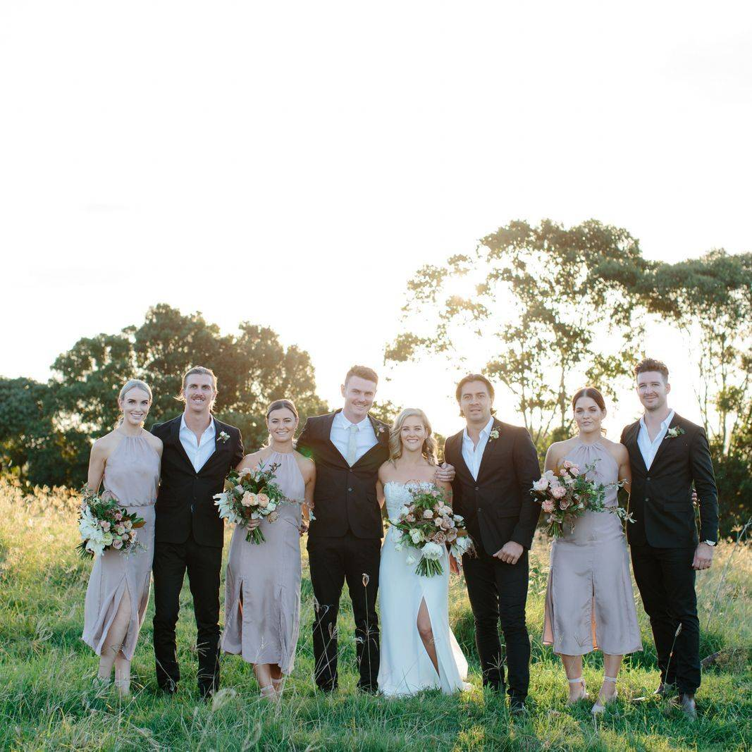 Kelly and Tom and the bridal party