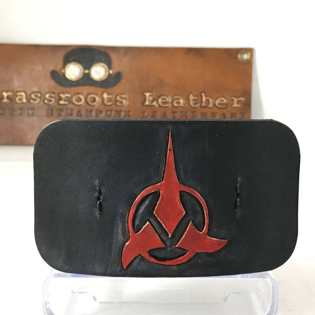 Leather Hair Clip Klingon (black)