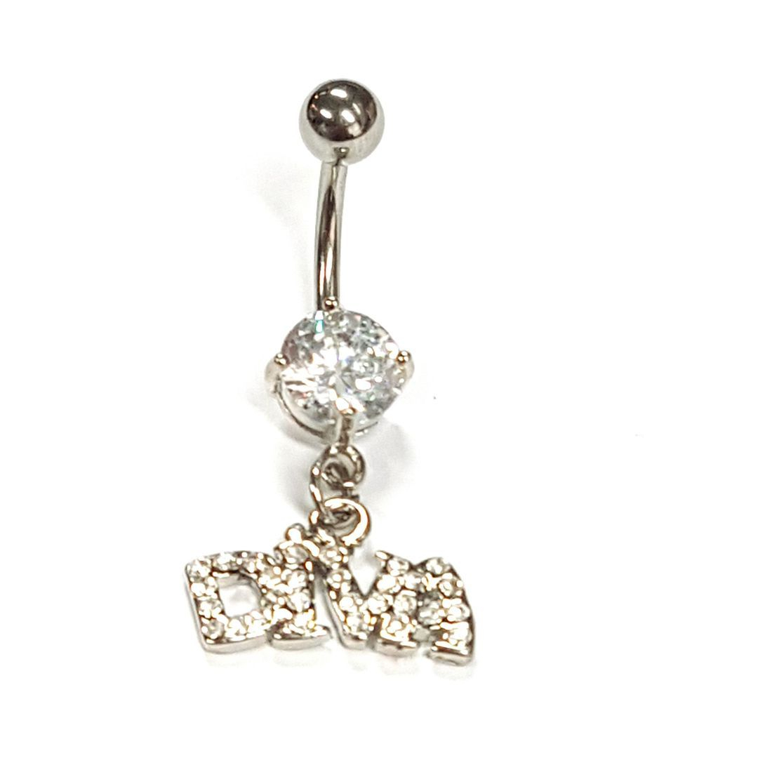 1.6mm x 10mm Clear Crystal Diva Titanium Navel Bar  available at Kazbah online and our Leicester City Centre Shop