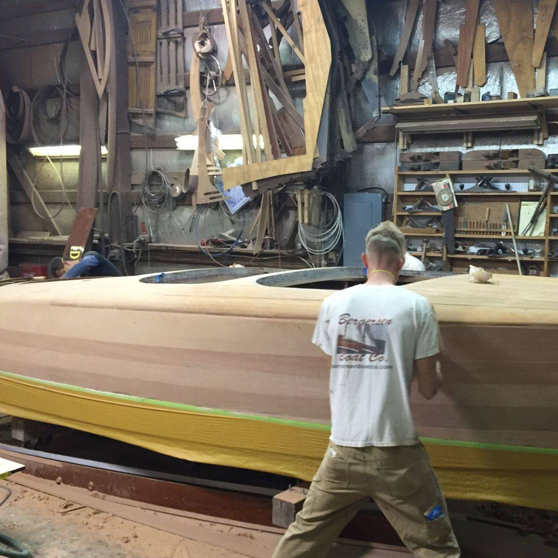 Chris Craft Barrel Back in Bergersen Boat Co. woodshop