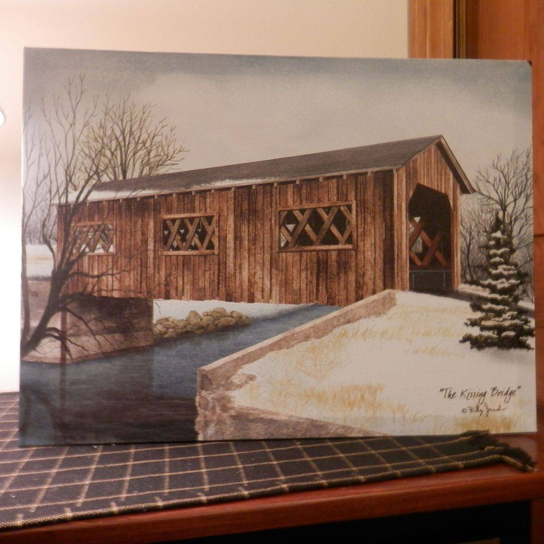 primitive canvas covered bridge print