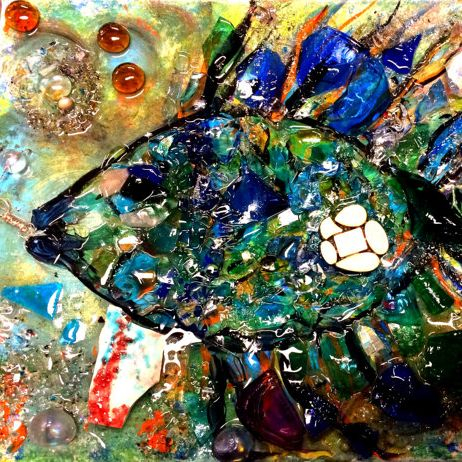 Tropical Fish Mosaic on Canvas Art