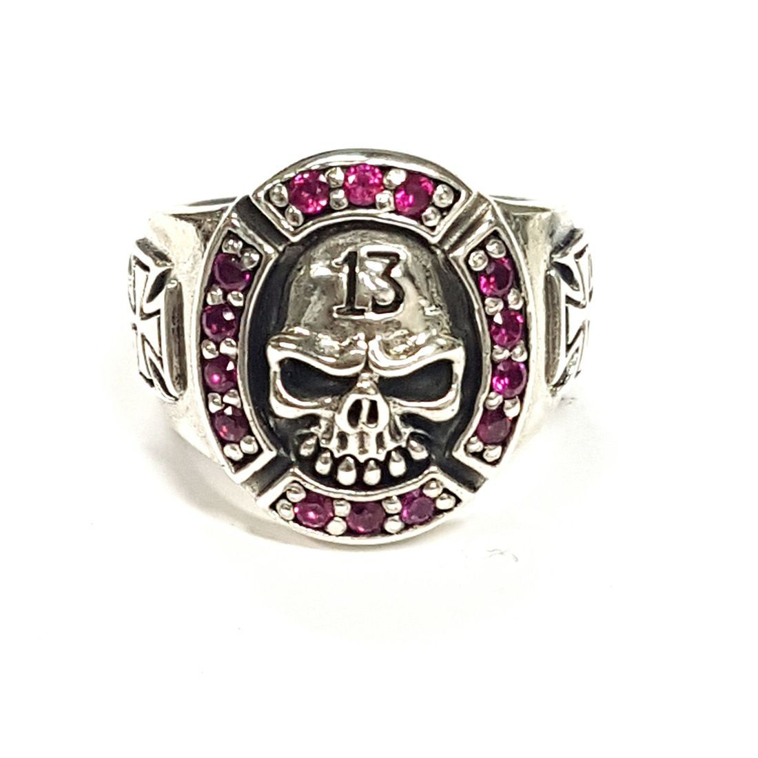 Pink Crystal 13 Skull Ring  available at Kazbah online and our Leicester City Centre shop