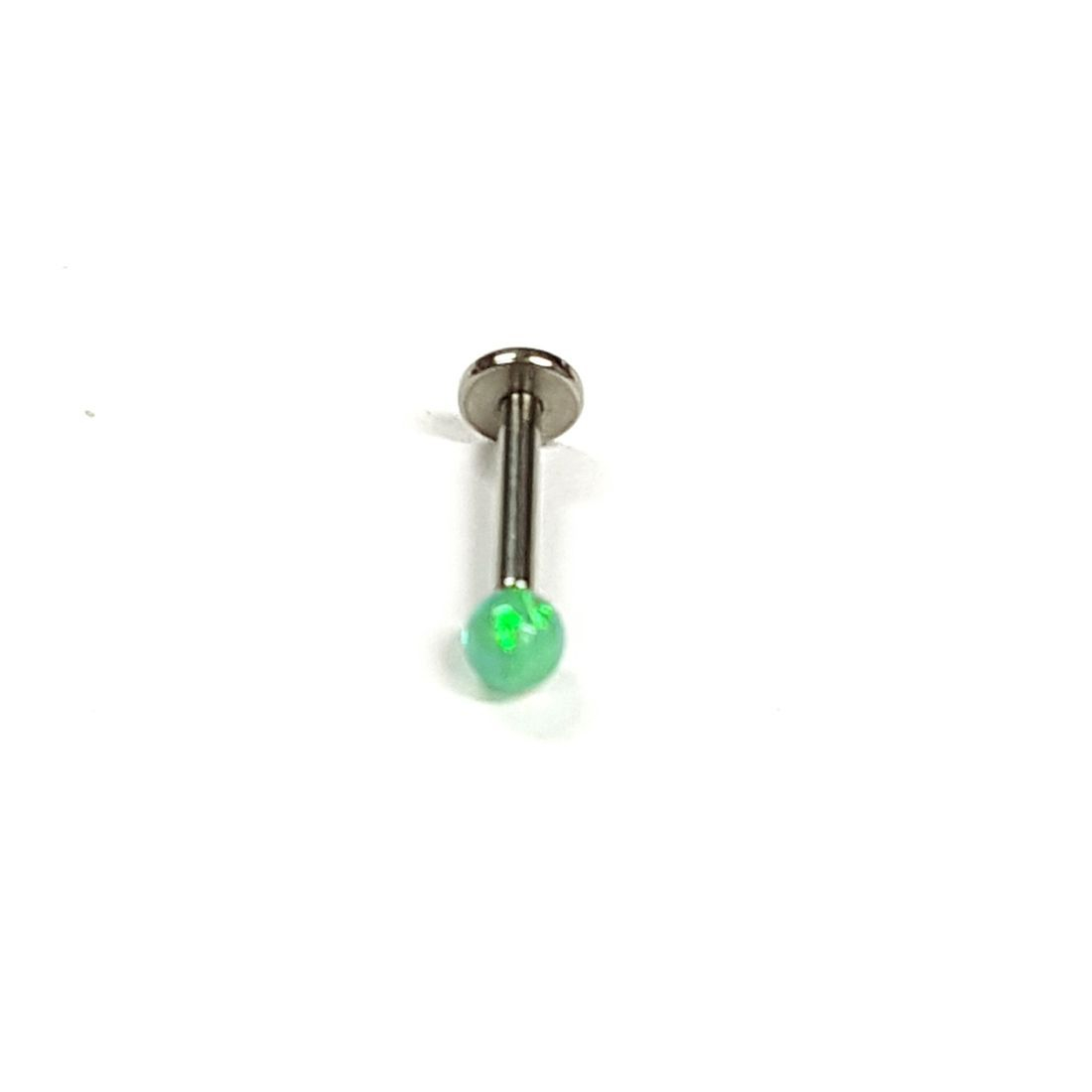 1.2mm x 8mm Green Opal Ball Flat Back Bar   available at Kazbah online and our Leicester City Centre Shop