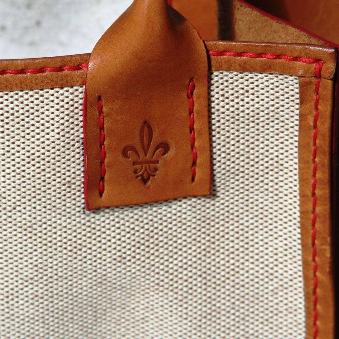 Handcrafted leather, Florentine artisan, leather and canvas bag, handsewn, vegetable tanned leather