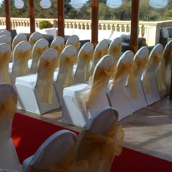 Wedding chair cover hire the Gailes, Irvine