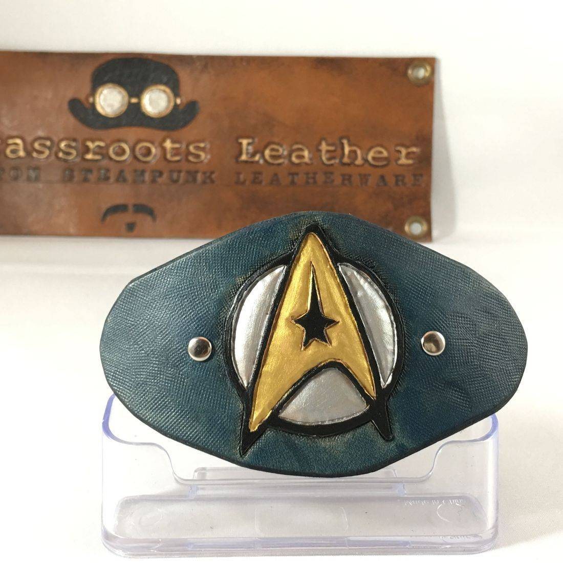 Leather Hair Clip Star Trek Enterprise (blue)
