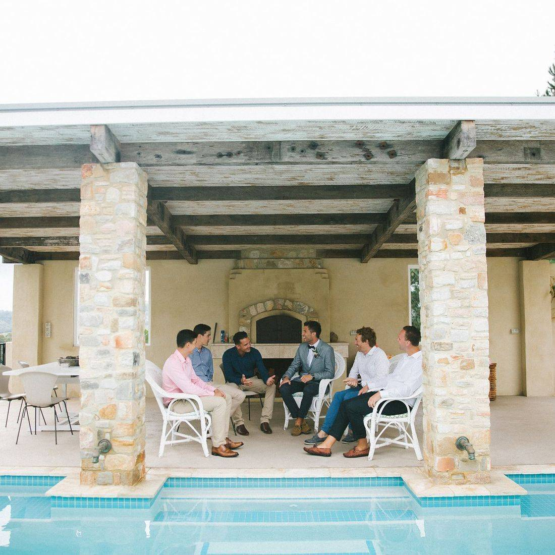 Joel and his friends at Verandahs pre wedding