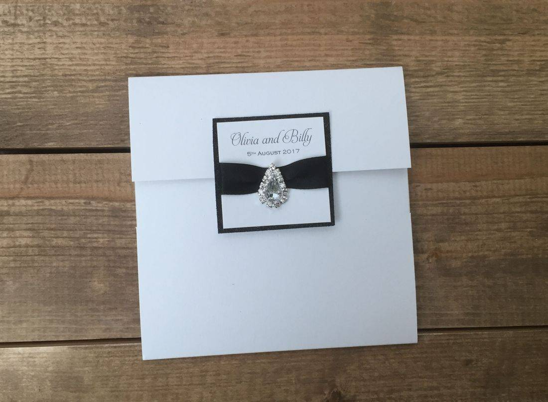Luxury Pocket fold Wedding Invitation in Pearl White and Black Glitter