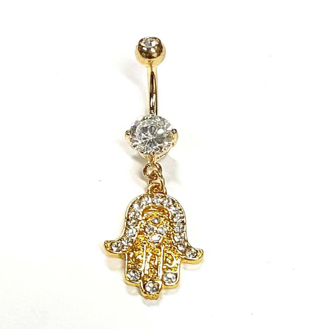 1.6mm x 10mm Gold & Crystal Hamsa Titanium Navel Bar   available at Kazbah online and our Leicester City Centre Shop