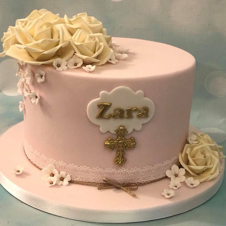 Pink Girl Baptism Christening Birthday Cake Cross Roses Lace