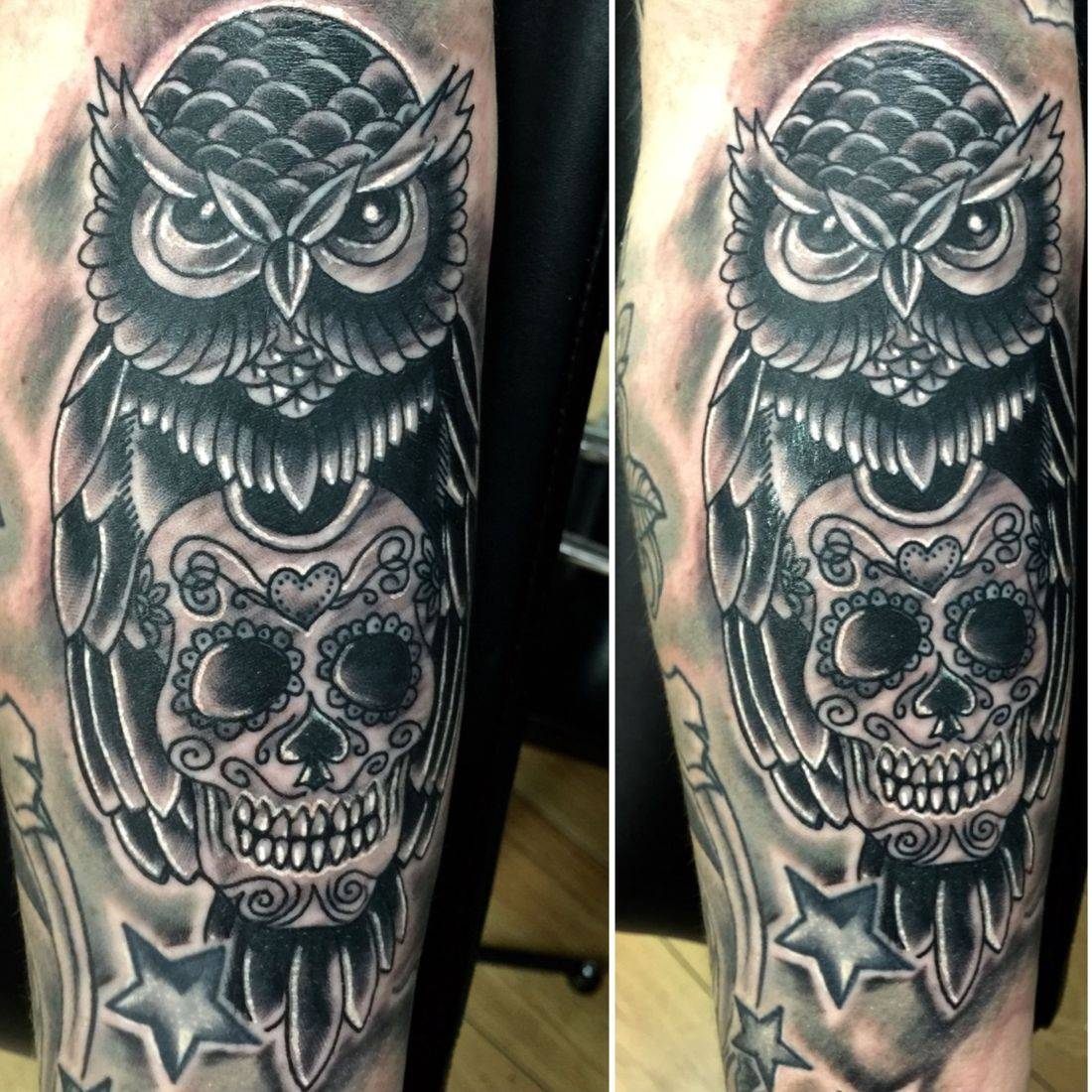Owl and Skull tattoo by mcgoldtooth at Kazbah Leicester City Centre