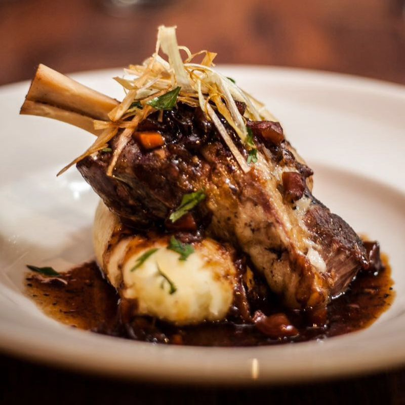 Lamb Shank with creamy mash with a red wine & mint jus