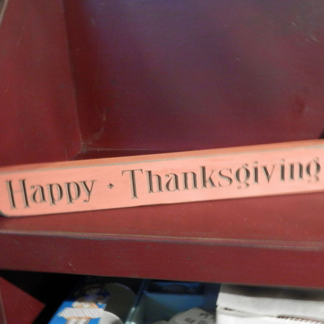 Happy Thanksgiving etched painted wood block