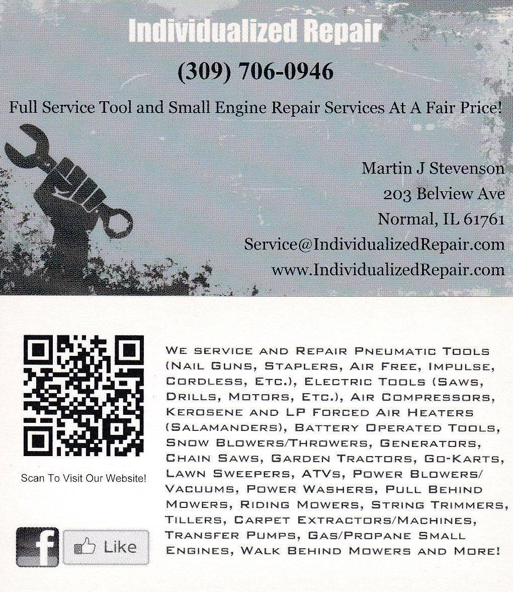Individualized Repair Normal Illinois Tool and Small Engine Repair Experts
