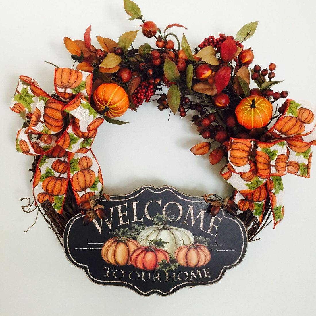 Pumpkin Welcome grape vine wreath