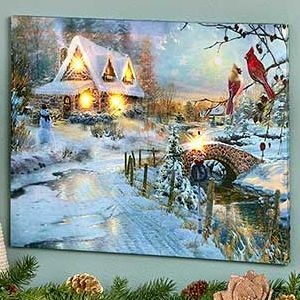 Lighted Winter Scene Canvas Wall Art