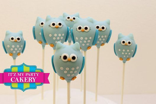 Blue Owl Cake pops Custom cakepopsStars New Year Cake pops