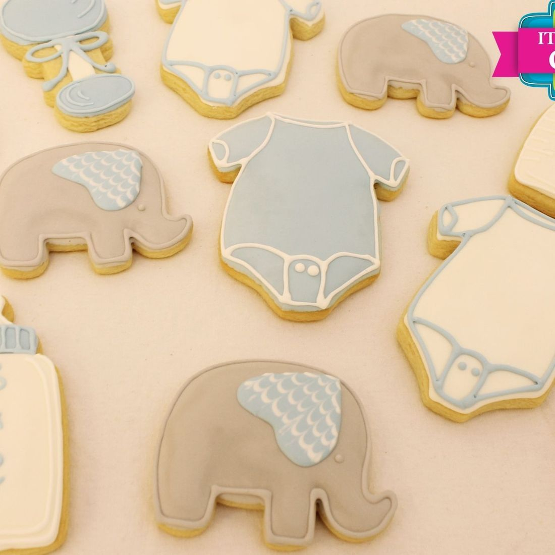 Grey Blue Elephant Shower Bottle cookies Milwaukee
