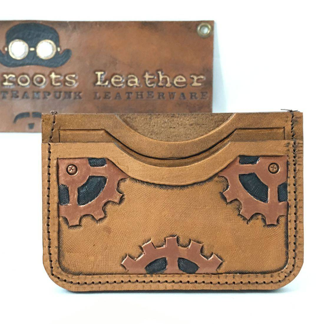 Double Slot Wallet Steampunk Small Gears