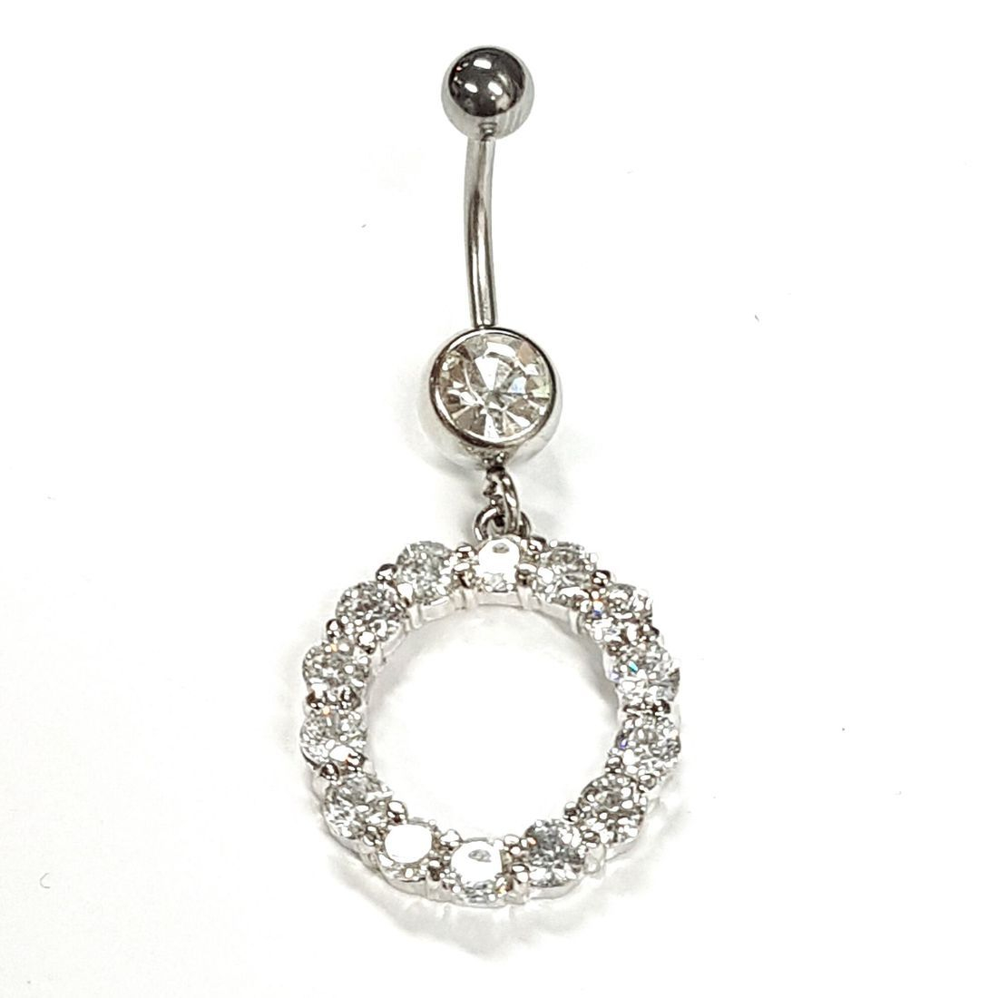 1.6mm x 10mm Clear Crystal Circle Titanium Navel Bar   available at Kazbah online and our Leicester City Centre Shop
